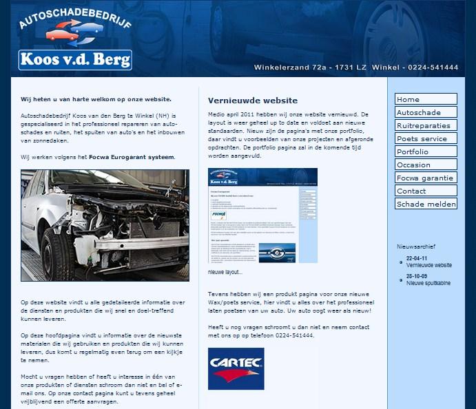 Website update Autoschadebedrijf Koos vd Berg